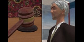 graphic of gavel and computer image of judge