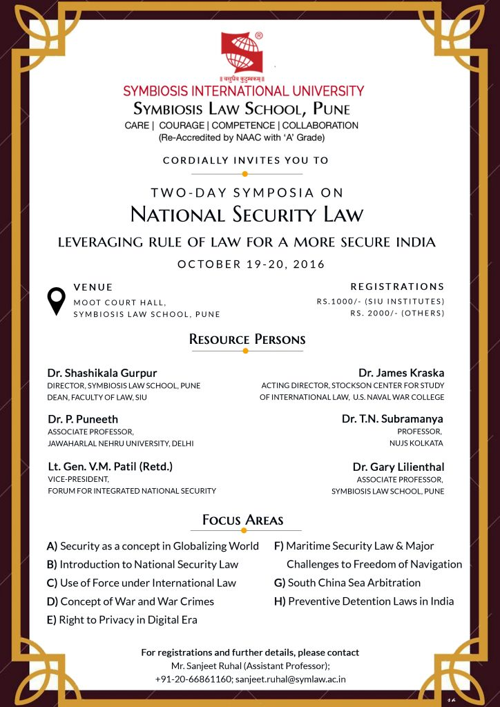 flyer for National Security Law: Leveraing Rule of Law for a More Secure India